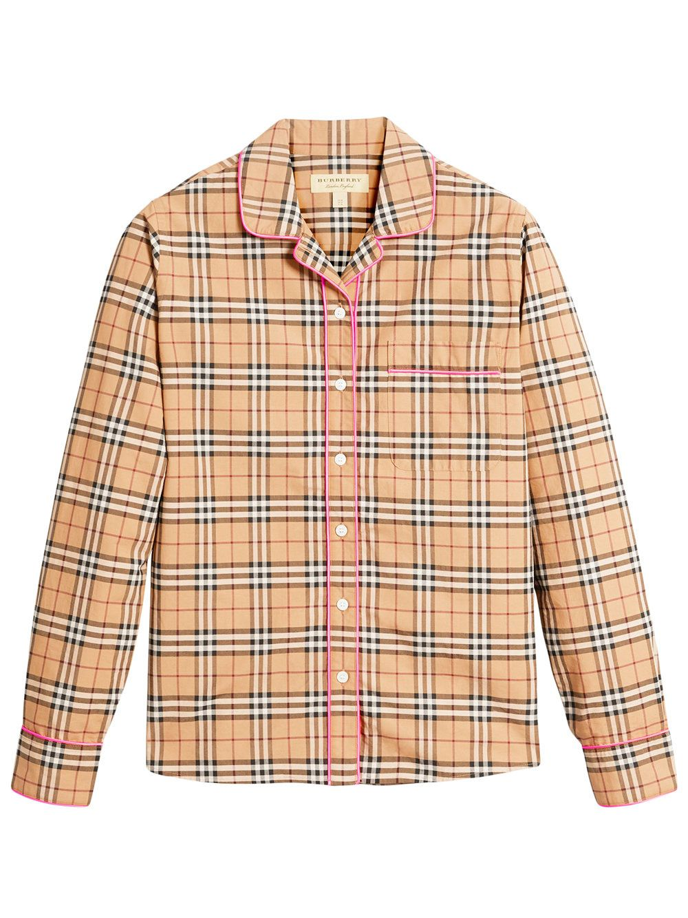 Burberry women 39 s brown contrast piping vintage check for Ladies brown check shirt