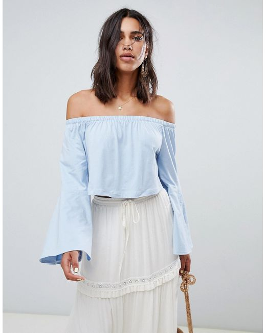 Vero Moda Women S Blue Off The Shoulder Top With Fluted